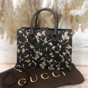 Gucci Black Arabesque Monogram Tote Shoulder Bag